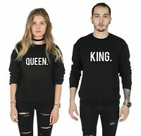 King and Queen Matching Sweater Top Jumper Sweatshirt  His Hers Valentines Day