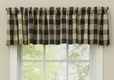 Country Black Wicklow Valance 72WX14L Buffalo Check Cotton Farmhouse Window