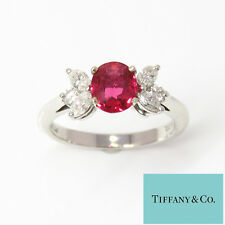 NYJEWEL Tiffany & Co. Platinum Natural Red Spinel Diamond Band Ring