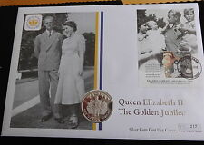 2002 SILVER PROOF FALKLAND ISLANDS 50p COIN PNC QUEEN GOLDEN JUBILEE 1/500