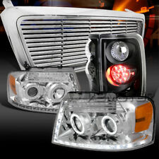 04-08 F150 Chrome Halo Projector Headlights+Billet Grille+Black LED Tail Lamps
