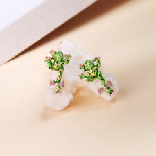 Women Elegant Fashion Earrings Stud Ear Crystal Rhinestone Frog Bow Green Enamel