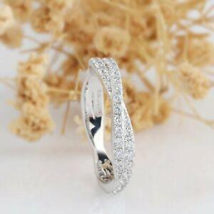 0.45CT Round Diamond Rope Eternity Wedding Engagement Ring 14K White Gold Finish