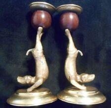 1977 Arthur Court Brass & Wood Dog Candle Holder Pair (2 pc)