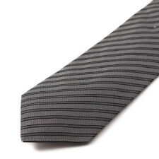 NWT $180 COSTUME NATIONAL Gray and Black Woven Ribbon Stripe Silk Tie
