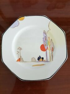 """Vintage Tams Ware 'Woodland' Small Side Plate  6"""" 15cm Octagonal Art Deco"""