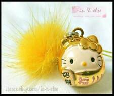 Gold DARUMA HELLO KITTY Tuft Bell Phone Bag Charm Strap for Lucky