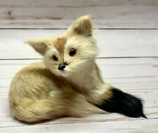 """Vintage Real Fur Fox/Cub Paper Mache with Glass Eyes Taxidermy Style 6.5"""" long"""