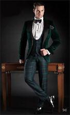 Men Designer Grooms Wedding Tuxedo Dinner Green Velvet Coat Jacket Blazer