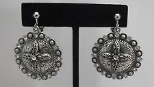 CLIP ON-Silver clip on earrings w/dangling round cross piece & cross.
