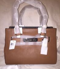 NWT COACH 36488 SWAGGER CARRYALL BAG LEATHER SADDLE/ Silver MSRP$395