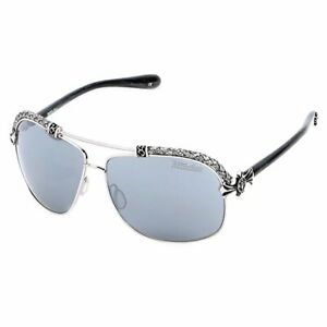 New Affliction Sunglasses Baxter B Silver White/Silver, with Case, Tag, and Box
