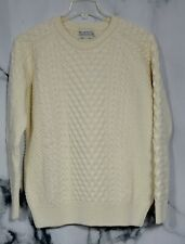 BLARNEY ARAN ORIGINALS NEW NWT Natural Wool Eoin Raglan Crew Neck Sweater Large