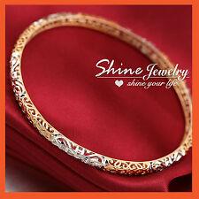 18K GOLD SILVER GF INFINITY FILIGREE SOLID LADIES DRESS ROUND BANGLE GIFT 65MM