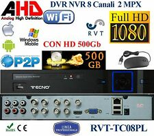 KIT DVR NVR 8 Canali + HD DA 500GB  TOP QUALITY PROFESSIONALE P2P TVCC FULL HD