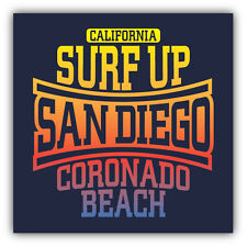 San Diego Coronado Beach Surfing Label Car Bumper Sticker Decal 5'' x 5''