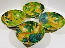 Vintage Fiberglass Bowl Dish Mid Century Floral Teal Green set of 4 Traymold 60s