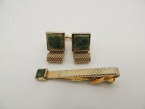 Vintage Swank Green Agate Gold Mesh Wrap Around Cufflinks + Tie Bar S Pentagon