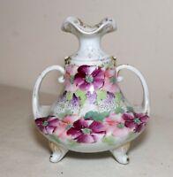 antique Austrian hand painted floral scene footed porcelain vase miniature