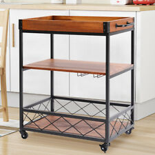 Industrial Trolley Wood Shelves Bar Service Drinks Tray Wine Cart Storage Party