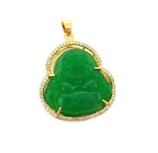 Green Jade Buddha Pendant Stainless steel Mens Womens 18k Gold Plated Cz Stones