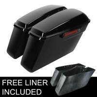 Vivid Black Hard Saddle Bags w/ Black Latch Fit For Harley Touring Models 14-20