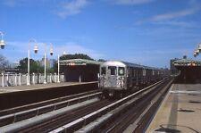 Nycta slide. Manhattan bound R62 express subway train on Westchester Avenue el.