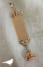ANTIQUE GOLD FILLED MESH POCKET WATCH FOB CHAIN CLIP W WAX SEAL CHARM #872M