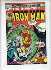 "IRON MAN #75  Marvel 1975  ""SUPER-VILLAIN'S WAR""   Arvell Jones art  FINE+"