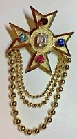 Vintage Costume Jewelry Maltese Cross Brooch Rhinestones Chatelaine Gold Tone