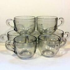 Set: 7 Vtg 4 oz CUP Punch Bowl MUG Clear Gray Pressed Striated Thick Plain Glass