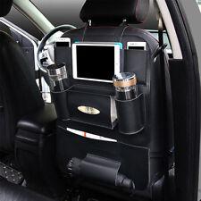 Car Seat Back Multi-Pocket Leather Storage Bag Organizer Holder Accessory Black