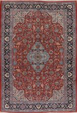 Floral Rust Navy Ardakan Oriental Area Rug Hand-Knotted Dining Room Carpet 7x10