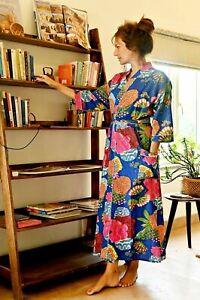 Indian Floral Hand Print 100% Cotton Blue Robe Gown Women Boho Maxi Kimono Dress