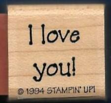 I LOVE YOU Gift Tag Print Words Occasion Wed NEW Stampin' Up! 1994 RUBBER STAMP