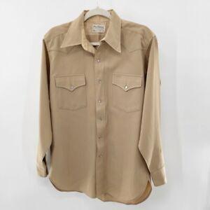 Vtg Pendleton Mens High Grade Western Wear Tan Wool Snap Shirt Size M Medium