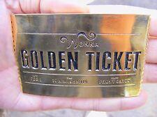 """Vtg WILLY WONKA Belt Buckle 3D Charlie MOVIE Golden Ticket 4"""" Brass RARE VG++"""