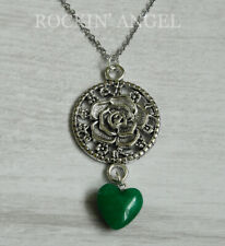 Antique Silver Pl Rose & Jade Heart Pendant Chain Necklace Ladies GIft Reiki