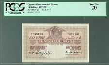 Cyprus Lot P-23 1937 10 Shillings VF- FIRST YEAR ISSUE RARE