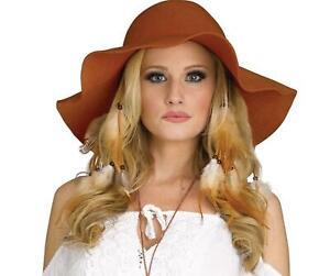 Hippie Hat Girl Brown Floppy Hat 60s 70s Halloween Costume Accessory