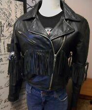 VTG DALLAS LEATHER MOTORCYCLE BIKER JACKET BLACK CONCHO FRINGE WOMENS SM