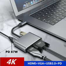 4 IN 1 USB C Type-C To HDMI 4K VGA USB3.0 Audio Video Adapter PD Fast Charger SJ