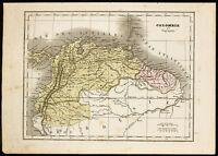 1850ca - Mapa Geográfica Antigua Gran Colombia Y Guyane. Por monin