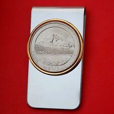 US 2010 Oregon Mount Hood National Park Quarter BU Coin Two Toned Money Clip