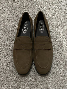 $525 Tod's 85B Slim Mocassino Gomma Loafers Slippers Men UK 9.5 US 10.5-11