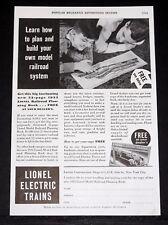 1933 OLD MAGAZINE PRINT AD, LIONEL ELECTRIC TRAINS, BUILD YOUR MODEL RAILROAD!