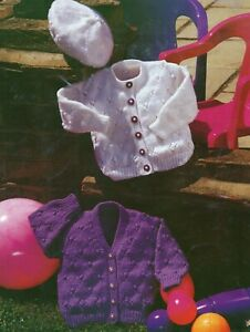 Baby DK Knitting Pattern  Lacy Cardigan and Beret  Sizes 16-22  inches #242