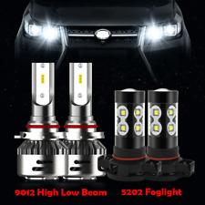 for GMC Sierra 1500 2014 2015 9012 LED Headlights + 5202 Fog Light 6000K White