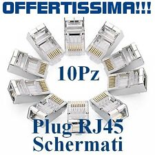 Connettore Schermato RJ45 Plug Cavo Rete LAN Ethernet - 10 PZ Pezzi