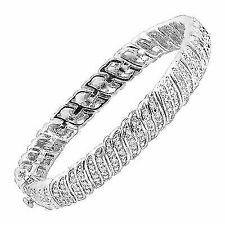 Finecraft Diamond S Link Brass Tennis Bracelet - Sterling Silver